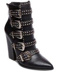 Steve Madden Comet Studded Western Booties Black Leather