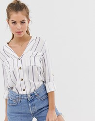 Oasis Shirt With Roll Sleeves In Stripe Multi