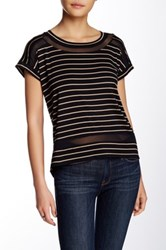 Cable And Gauge Short Sleeve Stripe Mesh Tee Petite Brown