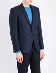 Armani Collezioni Checked Wool And Cashmere Blend Jacket Blue