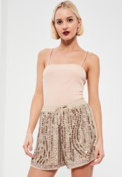 Missguided Nude Premium Sequin Shorts Beige