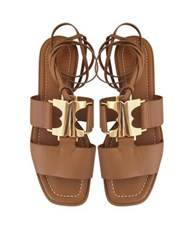 Tory Burch Gemini Link Royal Tan Nappa Leather Lace Up Flat Sandals Brown
