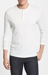 Men's French Connection Long Sleeve Slub Cotton Henley Cuba White
