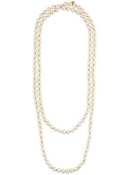 Chanel Vintage Faux Pearl Double Strand Necklace White
