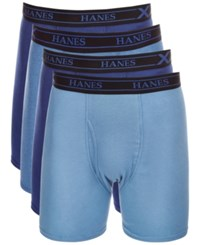Hanes X Temp Boxer Briefs 4 Pack Blue Assorted