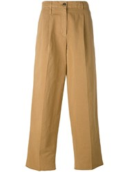 Incotex Cropped Wide Leg Trousers Brown