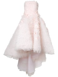 Mikael D. Strapless Hi Low Ball Gown Pink Purple