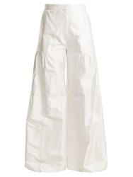 Duro Olowu High Rise Wide Leg Silk Taffeta Trousers White