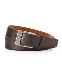 Neiman Marcus Saffiano Leather Belt Brown