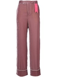 The Gigi Contrast Applique Flared Pants Viscose Pink Purple