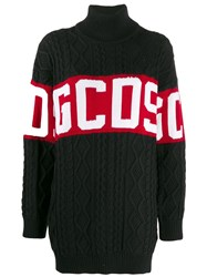 Gcds Logo Roll Neck Sweater Black