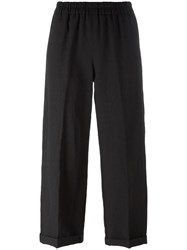 Forte Forte Elasticated Waistband Cropped Trousers Black