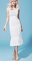Piamita Arianna Tiered Eyelet Dress With Ruffle Straps White