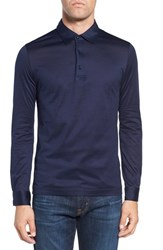Pal Zileri Men's Long Sleeve Mercerized Jersey Polo Navy