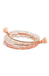 Panacea Beaded Coil Bracelet White Peach
