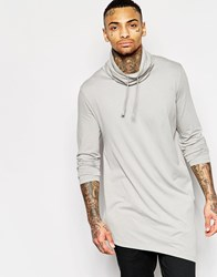 Asos Super Longline Long Sleeve T Shirt With Cowl Neck Grey