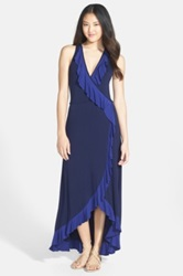 Felicity And Coco Ruffled Faux Wrap Maxi Dress Blue