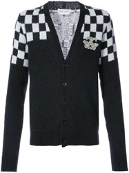 Saint Laurent Check Detail Cardigan Polyamide Mohair Wool Black