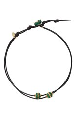 Camellia Westbury Leather And Gems Necklace Green