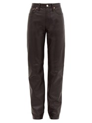 Acne Studios 1997 High Rise Straight Leg Leather Trousers Black