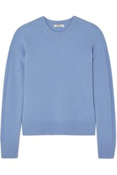 Vince Runner Rib Trimmed Cashmere Sweater Blue