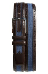 Mezlan Palma Linen And Leather Belt Brown Blue