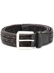 Canali Woven Belt Leather Brown