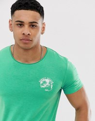 Tom Tailor T Shirt With Sunset Print In Bright Green