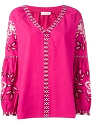 Tory Burch Embroidered Tunic Pink Purple