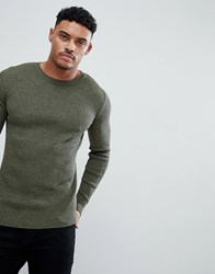 Asos Muscle Fit Ribbed Jumper In Khaki Twist Green