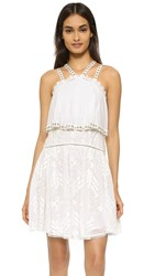 Rebecca Taylor Sleeveless Embroidered Cami Dress Snow