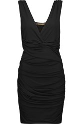 Roberto Cavalli Ruched Voile Mini Dress Black