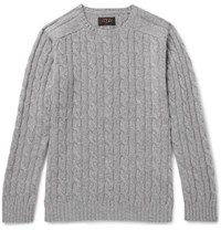 Beams Plus Cable Knit Wool Blend Sweater Gray