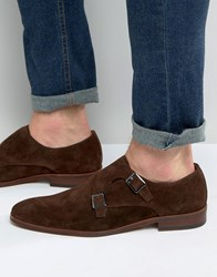 Dune Rhode Island Nubuck Monk Shoes Brown Navy