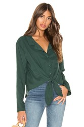 Line And Dot Tie Front Blouse Dark Green