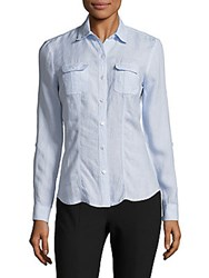 Saks Fifth Avenue Classic Linen Roll Tab Shirt Graphite