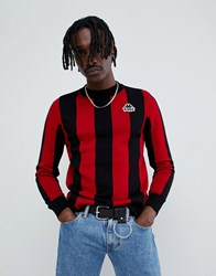 Kappa Long Sleeve Stripe Jumper In Red And Black