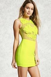 Forever 21 Sheer Lace Neon Mini Dress
