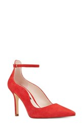 Nine West 'S Marquisha Scalloped Ankle Strap Pump Red Suede