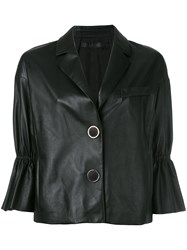 Drome Ruffle Sleeve Cropped Jacket Black