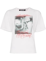 Adaptation Printed Hands Graphic Cotton And Cashmere Blend T Shirt White