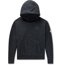 Cav Empt Logo Embroidered Loopback Cotton Jersey Hoodie Black