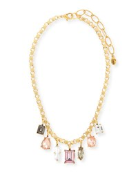 Sequin Multicolor Dangling Crystal Statement Necklace Pink Neutral Gold
