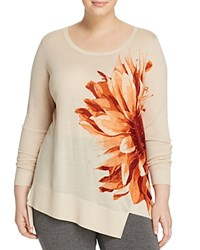 Marina Rinaldi Abbazia Flower Print Wool Sweater Rust