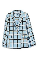 Topshop Check Double Breasted Jacket Light Blue Multi