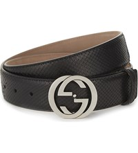 Gucci Python Interlocking Buckle Belt Black