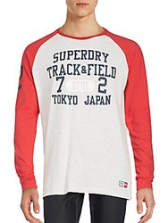 Superdry Trackster Baseball T Shirt Red White