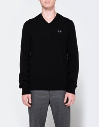 Comme Des Garcons Play V Neck Pullover In Black