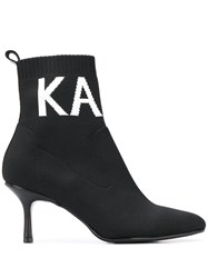 Karl Lagerfeld Pandora Knit Collar Ankle Boots 60