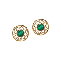 Alexandra Alberta Chelsea Malachite Earrings Green Gold